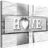 decomonkey | Mega XXXL Bilder Home Haus | Wandbild Leinwand 170x85 cm Selbstmontage DIY Einteiliger XXL Kunstdruck zum aufhängen | Liebe Herz weiß Vintage Retro Holz Sepia grau