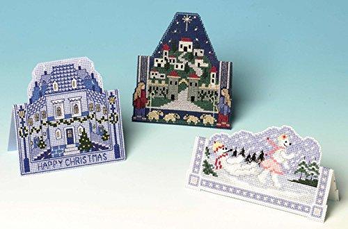 La Muscade Company Bleu Point de Croix de cartes de Noël 3D Sélection Pack (3 cartes)