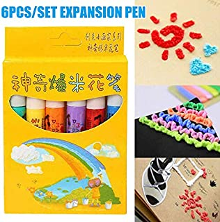 Magic Markers,RFT 6 Colors Paint Pens Magic Popcorn Pen Puffy Paint 3D Art Safe for Christmas Gift Greeting Birthday Cards Children.