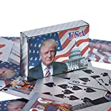 Donald Trump Playing Cards - Silver Plated Playing Cards Silver Plated Deck of Waterproof Poker Cards for Game for Table Games Good Gift for Friends, Men, Boyfriends