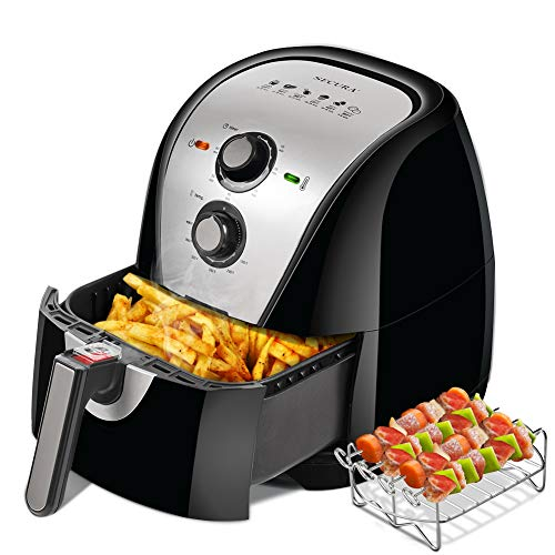Secura Air Fryer XL 5.3 Quart 1700-Watt Electric Hot Air Fryers Oven Oil Free Nonstick Cooker w/Additional Accessories, Recipes, BBQ Rack & Skewers for Frying, Roasting, Grilling, Baking (Silver)