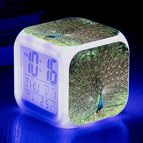 HUA5D Despertador Digital Pavo Real Infantil Regalos De Cumpleaños Wake Up Light Alarm Clocks Niño & Niña Dormitorio Decorar-Niños 7 Color Cambiante Luz Nocturna Lampara De Cabecer(B405)