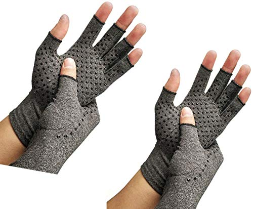 2 Pairs Arthritis Compression Gloves Provide Support and Warmth for Hands,...