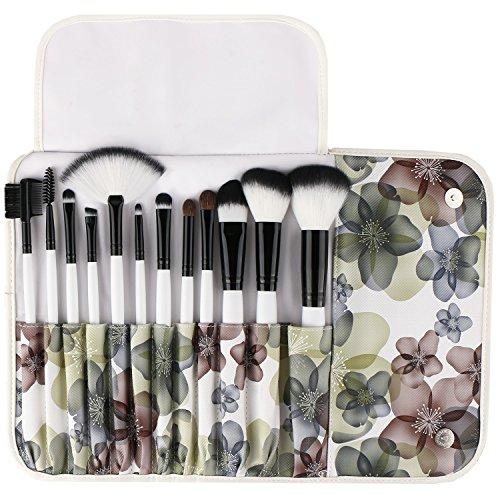 UNIMEIX Ensemble de brosse à cosmétiques professionnel à 12 pièces avec étui à motif fleur (fleur noire)