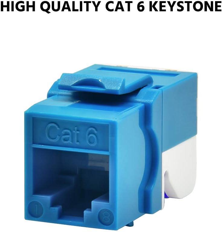 Beszin Cat.6 Tool Less Keystone Jack 10-Pack, White