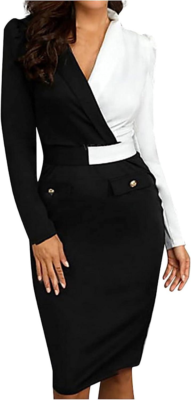 JIOAKFA Women's Long Sleeve Pencil Dresses Crossover Turn Down Neck Colorblock Slim Bodycon Business Work Formal Dress