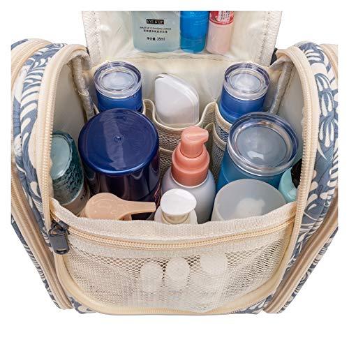 Reise Kulturtasche Zum Aufhängen Kulturbeutel Kosmetiktasche Waschtasche für Frauen Mädchen Damen (Blaues Blatt)