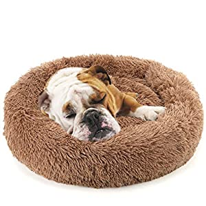 NOYAL Donut Dog Cat Bed, Soft Plush Pet Cushion, Anti-Slip Machine Washable Self-Warming Pet Bed – Improved Sleep for Cats Small Medium Dogs (Multiple Sizes)