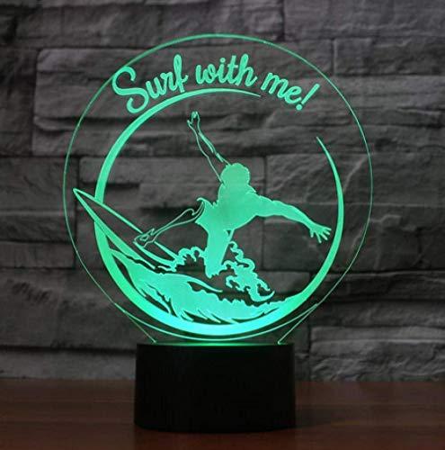 3D Illusion Nachtlicht Bluetooth Smart Control 7 & 16M Farbe Mobile App Led Vision Surfen Sport USB Tischdekoration Party Urlaub Indoor Figur bunt Kreatives Geschenk