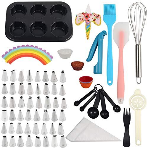 LINGSFIRE Decoración de Pasteles Kit,48 Torta Giratoria Boquillas Boquillas, 102 Bolsas de pastelería, 80 Tazas para Muffins, 5 cucharas medidoras, Molde para Muffins para Tartas DIY