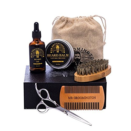 Men's Beard Grooming Kit With Apron; Boar Bristle Brush, Dual-Sided Wooden Comb, Leave-In Conditioner Oil and Balm, Styling Barber Trimmer Scissors, Barbers Kit, Beard Trimming Kit
