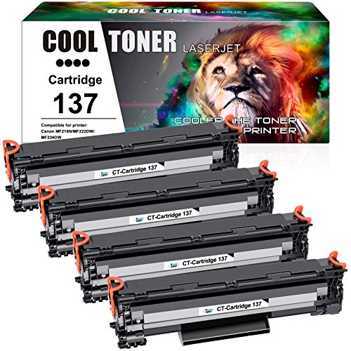 Cool Toner Compatible Toner Cartridge Replacement for Canon 137 Cartridge 137 Canon Imageclass MF236n LBP151dw MF216n MF249dw MF229dw MF212w MF247dw MF244dw MF227dw Toner Printer Ink (Black,4 Pack)