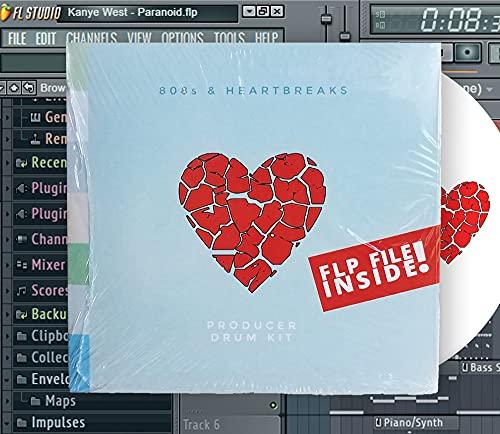 808s & Heartbreak Producer Drum Kit - CD Rom - MAC/WIN Drum Samples & Remixing - WAVE Pack for FL Studio Music Producers - Kid Cudi, Kanye West Drums for Emo Rap Beats + Song File   Plugin Settings