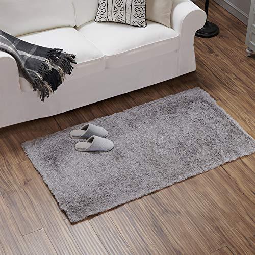 Teppich Wölkchen Hochflor-Plüsch-Teppich I Wohnzimmer Kinderzimmer Schlafzimmer Flur Läufer I rutschfeste Unterseite I 80 x 150 - Grau