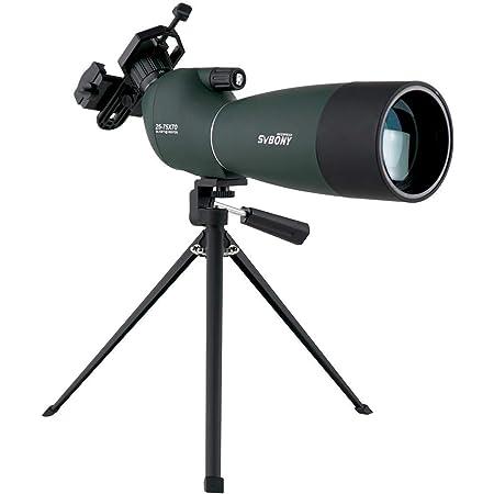 SVBONY SV28 フィールドスコープ スポッティングスコープ 傾斜型 25-75x 70mm BK7プリズム 多層コーティング IP65防水 天体観測 野鳥観察 バードウォッチング 汎用スマホアダプタ付き 卓上三脚付き(緑)