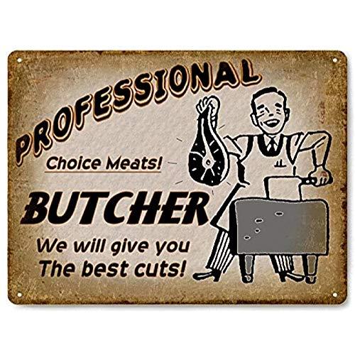 Letrero de metal de carnicería / tienda de comestibles de estilo antiguo vintage carnicero decoración de pared de carnicería-20x30cm