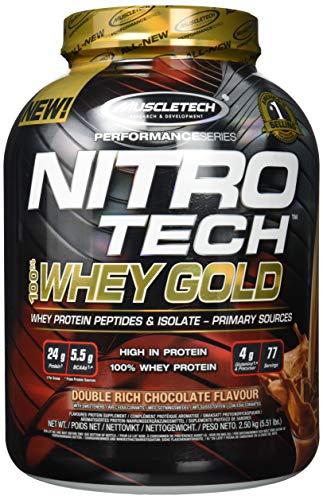 Whey Protein Pulver, MuscleTech Nitro-Tech Whey Gold Protein Isolate & Peptides, Eiweißpulver für den Muskelaufbau, Proteinpulver für Männer und Frauen, Schokolade, 2.51 kg (76 Portionen)