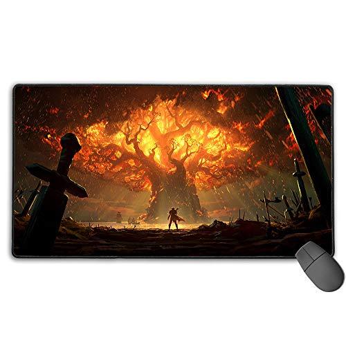 World of Warcraft Battle for Azeroth Teldrassil Tree Burning - Alfombrilla de ratón profesional para videojuegos (40 x 90 cm)