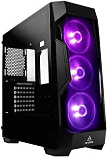 Antec Dark Fleet Series DF500 RGB Mid-Tower PC/Gaming Computer Case with GRB Lighting, RGB Fans x 3 Pre-Installed, Tempere...