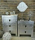 Livitat Nachttisch Nachtkonsole mit Schubladen Pomp Silber modern kubisch Bauhaus LV2020