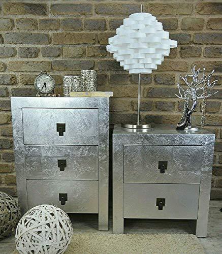 Livitat® Nachttisch Nachtkonsole mit Schubladen Pomp Silber modern kubisch Bauhaus LV2020