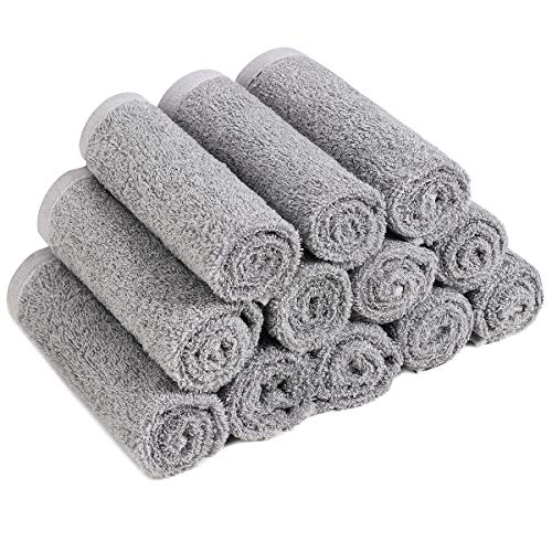 Qioo Washcloths Set 12 Pack12quotx12quot Bamboo Baby WashclothsWash Cloths for BathroomHotelSpaKitchen MultiPurpose Fingertip Towels amp Face Cloths (Grey)