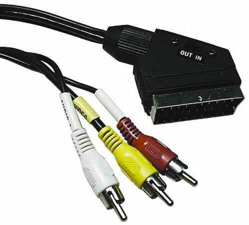VSE 610070Cable Adaptador de euroconector con interruptor, 3x RCA macho, de audio y vídeo, conector de metal, longitud de 2m