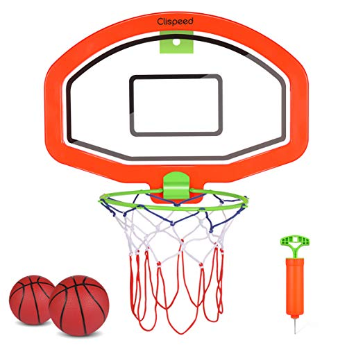 CLISPEED Mini Baskeballkörbe Indoor Outdoor Basketballkorb Basketballspielset für Kinder, 2 Bälle Und Pumpe Inklusive