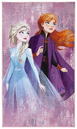 Bavaria Home Style Collection - kompatibel mit Kinder-Teppich Eiskönigin für Mädchen I rutschfest I Anna und ELSA Teppich fürs Kinderzimmer I Spiel-Teppich lila 100 x 170 cm