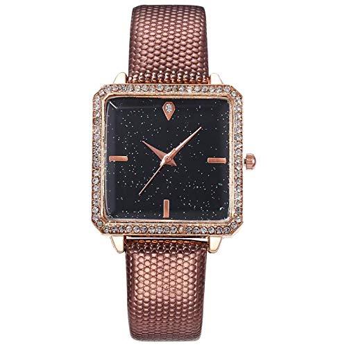 JZDH Relojes para Mujer Relojes de Mujer Simple Fashion Square Starry Sky Cuero Cuarzo Reloj Brazalete Elegante Female Reloj Wristwatch Regalo Relojes Decorativos Casuales para Niñas Damas