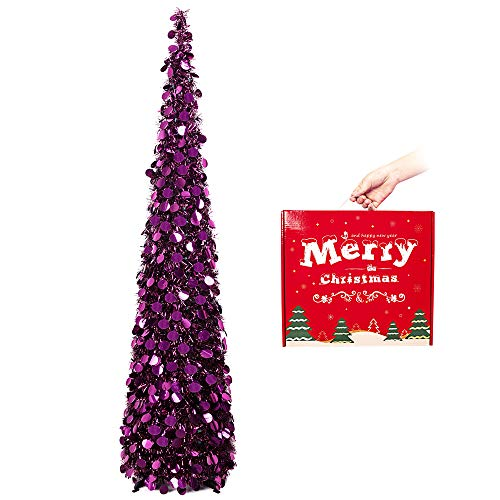 MACTING Christmas Tree, 5ft Collapsible Pop up Christmas Tinsel Tree with...