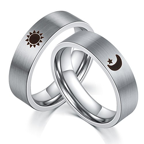 Epinki Stainless Steel Sun Moon Star His and Hers Couple Ring Sets for Wedding Women Size 6 & Men Size 12