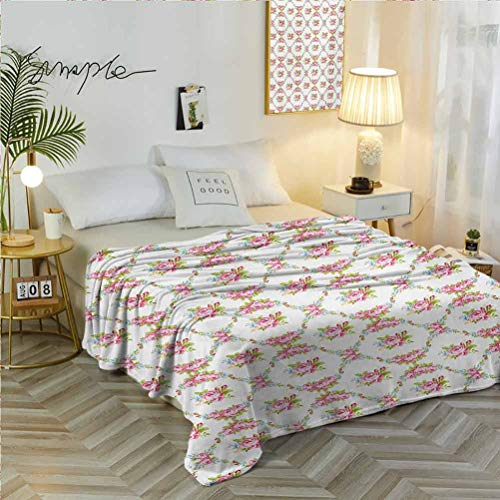 70' W x 84' L Shabby Chic Soft Flannel Blanket Exquisite Comfortable Curvy Borders with Rose Blossoms Retro Feminine Flora Waves Garland Inspired Multicolor