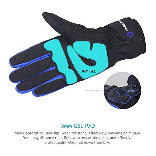 Inbike Fahrradhandschuhe Winter Thermo Gepolsterte Handfläche Radsport Gel Handschuhe Windddichte(Blau,L) - 4