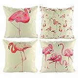 Luxbon 4er Set Flamingos Vogel Leinen Kissenbezug Wurfkissenbezug Pillowcase Cafe Auto Haus Deko 18 x 18 '' Rot