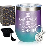 She Believed She Could So She Did, 12 oz Stainless Steel Stemless Wine Tumbler with Keychain, Congratulations, 2021 Graduation, Promotion, Going Away, Job Change, Congrats Gift (Glitter Gradation)