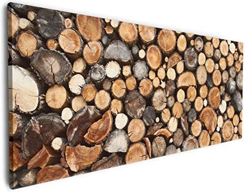Wallario Leinwandbild Dunkler Holzstapel rund - 50 x 125: Brillante lichtechte Farben, hochauflösend, verzugsfrei