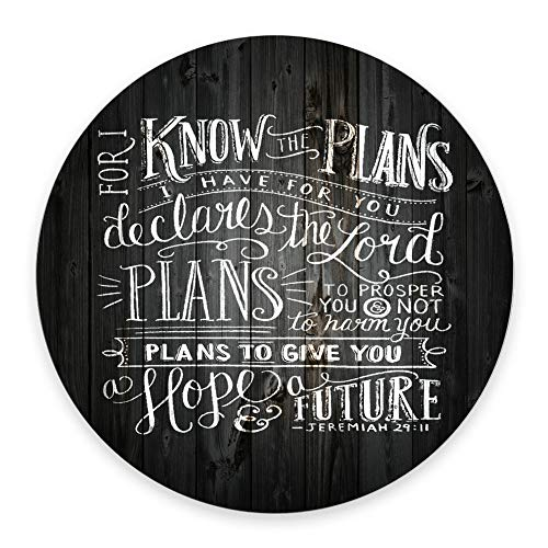 SSOIU Vintage Bible Verse Scripture Quotes Rustic Black Wood Mouse Pad, for I Know The Plans I Have for You Declares The Inspirational Quote Round Mouse Pads