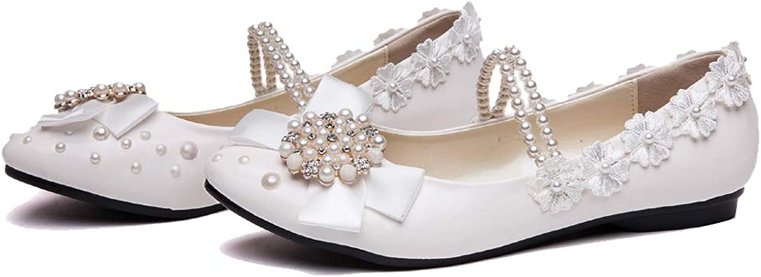 Getmorebeauty Women's Mary Jane Flats Pearls Bows Across Tops Dress Wedding shoes