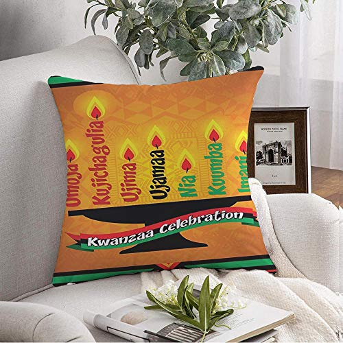 Decorative Pillow Cover Cushion Cover Love Candle Kwanza Family Kwanzaa Africa Burn Greeting Happy Unity Seven Holiday Holidays Season Soft Square Pillowcase for Sofa Living Room 18x18 Inch