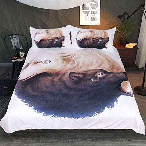 MMHJS 3-Piece Duvet Cover With 3D Animal Print Pattern 2 Envelope Pillow Cases Personalized Bedding Suitable For Children'S Room, Student Dormitory