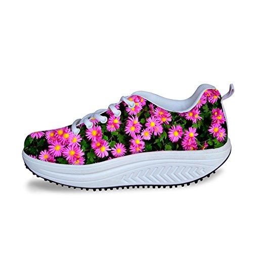 AXGM Damen Turnschuhe Plateau Schuhe Keilabsatz Sneaker Fitness Sportschuhe Abnehmen Freizeitschuhe Schöne Gänseblümchen Purple Blume Pflanze Druck Mode Atmungsaktiv Keile Plattform Schuhe C065 EU 40