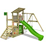 FATMOOSE Wooden Climbing Frame FruityForest Fun XXL with Swing Set and Green Slide, Outdoor Play Tower for Kids with Sandpit, Climbing Ladder & Play-Accessories