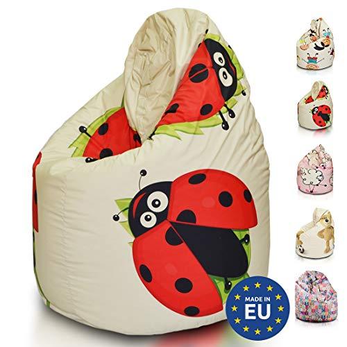 Ecopuf Sitzsack L Kids - Kindersitzsäcke aus Plüsch-Mikrofaser mit Anti-Verlust-Reissverschluss