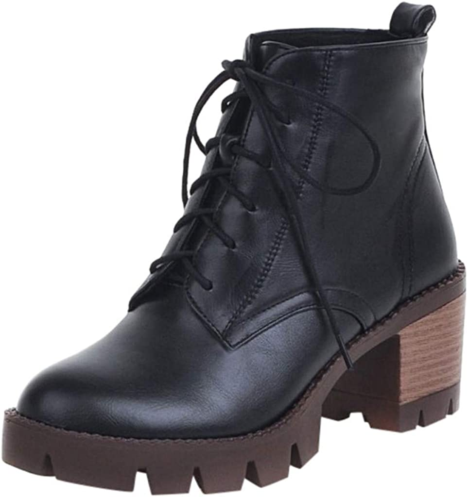 RQWIEN Women Ankle Boots with Chunky Heels Lace Up Boots Simple Autumn Winter Short Students Wild High Heeled Booties