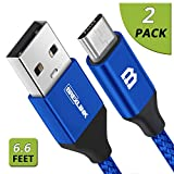 Micro USB Cable Android, BrexLink Micro USB to USB 2.0 Cable (2-Pack, 6.6 Feet) Nylon Braided Sync and Fast Charging Cable for Samsung, Kindle, Android Smartphones, Galaxy S7 Edge, Moto G5, PS4 (Blue)