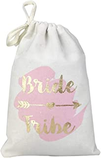FOONEA 10pcs 5x7 Gold Foil Bride Tribe Bridesmaid Gift Bags with Pink Watercolor Cotton Muslin Drawstring Bags for Bridal Shower Bachelorette Party Hangover Kit Hangovers Bag
