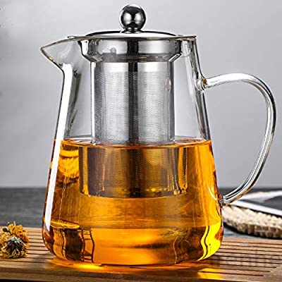 NUTMEG Glass Teapot Stovetop Save - Tea Kettle with Removable Food Grade Stainless Steel Infuser & Lid for Blooming and Loose Leaf Tea Maker - (550 ml/19.3 OZ)
