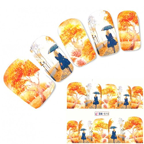 JUSTFOX - tattoo nail herfst bomen vrouw met paraplu sticker nagel sticker nagels voet water decal