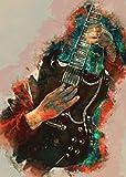 BINGSHUAI Póster de Angus Young Guitar con diseño de guitarra y pared con marco de 30 cm x 45 cm